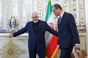 Acting Director General of IAEA, Cornel Feruta (R), is welcomed by Iranian Foreign Minister Mohammad Javad Zarif, Tehran, Iran, September 8, 2019.
