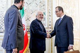 Acting Director General of IAEA, Cornel Feruta (R), is welcomed by Iranian Foreign Minister Mohammad Javad Zarif (M), Tehran, Iran, September 8, 2019.