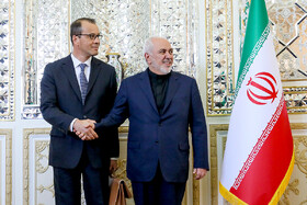Acting Director General of IAEA, Cornel Feruta (L), is welcomed by Iranian Foreign Minister Mohammad Javad Zarif, Tehran, Iran, September 8, 2019.