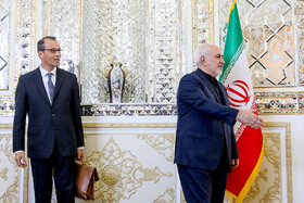 Acting Director General of IAEA, Cornel Feruta (L), and his accompanying delegation are welcomed by Iranian Foreign Minister Mohammad Javad Zarif, Tehran, Iran, September 8, 2019.