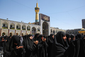 Pilgrims of Imam Reza Holy Shrine perform mourning rites on Ashura, Mashhad, Iran, September 10, 2019.