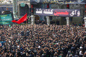 Pilgrims of Fatemeh Masoumeh Holy Shrine perform mourning rites on Ashura, Mashhad, Iran, September 10, 2019.