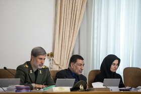 Iranian Defense Minister Brigadier General Amir Hatami (L) and Iran's Justice Minister Alireza Avayi (M) are present in the session of Iran's cabinet ministers, Tehran, Iran, September 11, 2019.