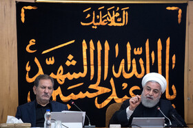 Iranian president Hassan Rouhani (R) delivers a speech during the session of Iran's cabinet ministers, Tehran, Iran, September 11, 2019.