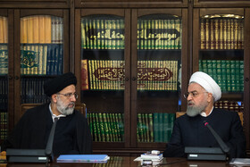 Iranian President Hassan Rouhani (R) and Iran's Judiciary Chief Ebrahim Raeisi are seen in the session of Supreme Council of Economic Cooperation, Tehran, Iran, September 14, 2019.