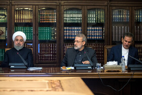 Iranian President Hassan Rouhani (L), Iranian First-Vice President Es'haq Jahangiri (R) and Iranian Parliament Speaker Ali Larijani are seen in the session of Supreme Council of Economic Cooperation held in Tehran, Tehran, Iran, September 14, 2019.