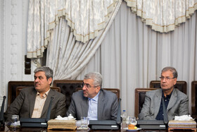 Iran's Energy Minister Reza Ardakanian (M) and Iranian government speaker Ali Rabiei (R) are present in the session of Supreme Council of Economic Cooperation, Tehran, Iran, September 14, 2019.