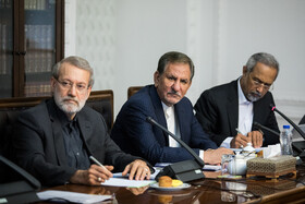Iranian Parliament Speaker Ali Larijani (L) and Iranian First-Vice President Es'haq Jahangiri (M) are seen in the session of Supreme Council of Economic Cooperation held in Tehran, Tehran, Iran, September 14, 2019.