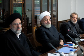 Iranian President Hassan Rouhani (M), Iranian Parliament Speaker Ali Larijani (R) and Iran's Judiciary Chief Ebrahim Raeisi are seen in the session of Supreme Council of Economic Cooperation, Tehran, Iran, September 14, 2019.