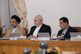 Iran's Intelligence Minister Mahmoud Alavi (L), Iranian Foreign Minister Mohammad Javad Zarif (M) and Iran's Justice Minister Alireza Avayi are present in the session of Iran's cabinet ministers, Tehran, Iran, September 18, 2019.