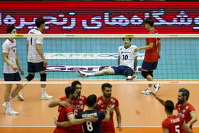 Volleyball match between Iran and South Korea, Tehran, Iran, September 20, 2019. Iran beat South Korea 3-1 to reach the final of the 2019 Asian Men's Volleyball Championship.