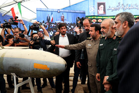 Chief Commander of IRGC Major General Hossein Salami is present in the first exhibition of intruding drones, seized by Iranian Armed Forces, Tehran, Iran, September 21, 2019.