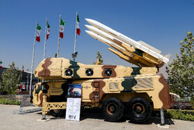 "Air defense missile system ""Khordad-3rd"" is seen in the first exhibition of intruding drones, seized by Iranian Armed Forces, Tehran, Iran, September 21, 2019.
