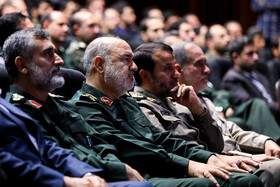Chief Commander of IRGC Major General Hossein Salami (3rd, R) is present in the first exhibition of intruding drones, seized by Iranian Armed Forces, Tehran, Iran, September 21, 2019.