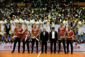 Iranian volleyball players celebrate their championship at the 2019 Asian Men's Volleyball Championship, Tehran, Iran, September 21, 2019.