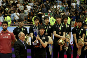 Japan men's volleyball team finishes in third place at the 2019 Asian Men's Volleyball Championship, Tehran, Iran, September 21, 2019.