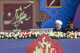 Iranian President Hassan Rouhani is present in the parade ceremony of Iranian armed forces, marking the beginning of Iran's sacred defense week, Tehran, Iran, September 22, 2019.