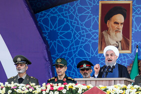 Iranian President Hassan Rouhani delivers a speech during the parade ceremony of Iranian armed forces, marking the beginning of Iran's sacred defense week, Tehran, Iran, September 22, 2019.
