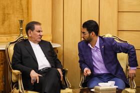 Iranian First_Vice President Es'haq Jahangiri (L) and Iran's Information and Communication Technology Minister Mohammad Javad Azari Jahromi are seen on the sidelines of a meeting, after which Iranian President Hassan Rouhani left Tehran for New York, Tehran, Iran, September 23, 2019. Iranian President will attend the 74th United Nation General Assembly in New York.