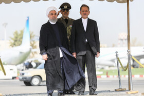 Iranian President Hassan Rouhani (L) is seen off by Iranian First-Vice President Es'haq Jahangiri before leaving Tehran for New York, Tehran, Iran, September 23, 2019. Iranian President will attend the 74th United Nation General Assembly in New York.