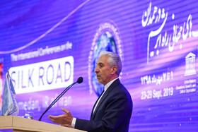 Iran's Minister of Science, Research and Technology Mansour Gholami delivers a speech during the International Conference on Silk Road held in presence of Iranian officials and foreign guests, Hamedan, Iran, September 23, 2019.