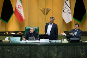 Iranian Parliamant Speaker Ali Larijani (L) is present in the public session of Iranian Parliament, Tehran, Iran, September 24, 2019.