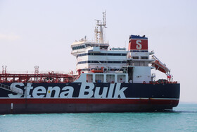 British flagged oil tanker Stena Impero starts its move toward the international corridor marine traffic in the Persian Gulf, Iran, September 27, 2019. Stena Impero was captured by Iran's IRGC on Friday July 19 for breaching international maritime law while crossing the Strait of Hormuz.