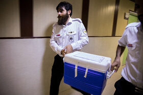 The heart of a 35-year-old woman, who suffered from brain death, is transferred from Tabriz to Tehran for heart transplant, September 27, 2019. The heart was taken to Shariati Hospital for transplanting.