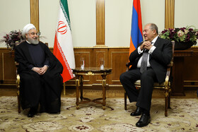 Iranian President Hassan Rouhani (L) is seen in a meeting with Armenian President Armen Sarkissian, Yerevan, Armenia, September 30, 2019.