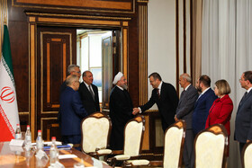 Iranian President Hassan Rouhani and his accompanying delegation are seen before the meeting with high-ranking Armenian officials, Yerevan, Armenia, September 30, 2019.