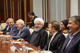 Iranian President Hassan Rouhani and his accompanying delegation are seen in their meeting with high-ranking Armenian officials, Yerevan, Armenia, September 30, 2019.