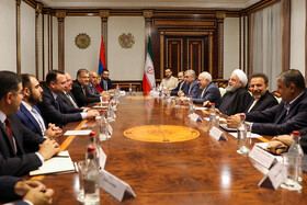 Meeting between Iranian President Hassan Rouhani and Armenian President Armen Sarkissian and their accompanying delegations, Yerevan, Armenia, September 30, 2019.