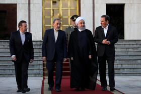 Iranian President Hassan Rouhani is seen off by high-ranking Iranian officials before traveling to Armenia, Tehran, Iran, September 30, 2019.