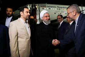Iranian President Hassan Rouhani arrives in Yerevan, Armenia, September 30, 2019.