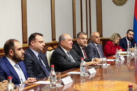Armenian President Armen Sarkissian and his accompanying delegation are seen in their meeting with high-ranking Iranian officials headed by Iranian President Hassan Rouhani, Yerevan, Armenia, September 30, 2019.