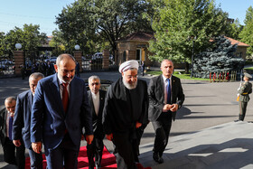 Iranian President Hassan Rouhani is welcomed by Armenian Prime Minister Nikol Pashinyan before their meeting on the sidelines of the Eurasian Economic Council's summit, Yerevan, Armenia, October 1, 2019.
