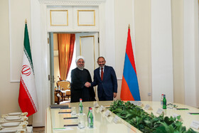 Meeting between Iranian President Hassan Rouhani (L) and Armenian Prime Minister Nicol Pashinyan, Yerevan on the sidelines of the Eurasian Economic Council's summit, Armenia, October 1, 2019.