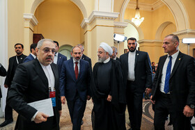 Meeting between Iranian President Hassan Rouhani and Armenian Prime Minister Nicol Pashinyan on the sidelines of the Eurasian Economic Council's summit, Yerevan, Armenia, October 1, 2019.