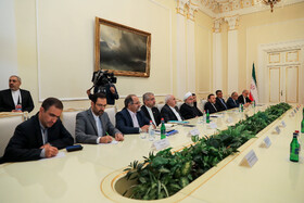 Iranian delegation headed by Iranian President Hassan Rouhani is seen in the meeting with Armenian delegation headed by Armenian Prime Minister Nicol Pashinyan on the sidelines of the Eurasian Economic Council's summit, Yerevan, Armenia, October 1, 2019.