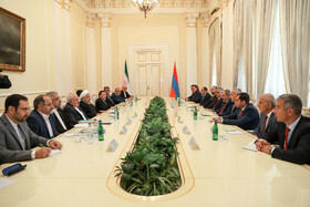 Meeting between Iranian delegation headed by Iranian President Hassan Rouhani and the Armenian delegation headed by Armenian Prime Minister Nicol Pashinyan on the sidelines of the Eurasian Economic Council's summit, Yerevan, Armenia, October 1, 2019.