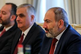 Armenian Prime Minister Nicol Pashinyan (R) is seen in his meeting with Iranian delegation headed by Iranian President Hassan Rouhani on the sidelines of the Eurasian Economic Council's summit, Yerevan, Armenia, October 1, 2019.