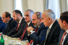Armenian delegation headed by Armenian Prime Minister Nicol Pashinyan is seen in the meeting with Iranian delegation headed by Iranian President Hassan Rouhani on the sidelines of the Eurasian Economic Council's summit, Yerevan, Armenia, October 1, 2019.