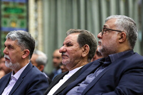 "Iranian First-Vice President Es'haq Jahangiri (M) and Iranian Minister of Culture and Islamic Guidance Abbas Salehi (L) are present during the closing ceremony of the ""Fifth Arbaeen International Award"", Tehran, Iran, October 1, 2019.