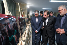 "Iranian First-Vice President Es'haq Jahangiri (M) and Iranian Minister of Culture and Islamic Guidance Abbas Salehi (L) are seen on the sidelines of the closing ceremony of the ""Fifth Arbaeen International Award"", Tehran, Iran, October 1, 2019.