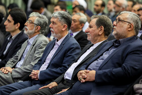 "Iranian First-Vice President Es'haq Jahangiri (2nd, R) and Iranian Minister of Culture and Islamic Guidance Abbas Salehi (3rd) are present during the closing ceremony of the ""Fifth Arbaeen International Award"", Tehran, Iran, October 1, 2019.