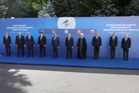 Iranian President Hassan Rouhani (4th, R) and high-ranking officials of countries who are the members of Eurasian Economic Council are seen in the photo, Yerevan, Armenia, October 1, 2019.