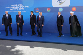 Iranian President Hassan Rouhani (R) and high-ranking officials of countries who are the members of Eurasian Economic Council are seen in the photo, Yerevan, Armenia, October 1, 2019.
