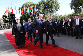 Iranian President Hassan Rouhani (L) and high-ranking officials of countries who are the members of Eurasian Economic Council are seen in the photo, Yerevan, Armenia, October 1, 2019.