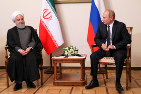 Iranian President Hassan Rouhani (L) and Russian President Vladimir Putin are seen in their meeting on the sidelines of the Eurasian Economic Council's Summit, Yerevan, Armenia, October 1, 2019.