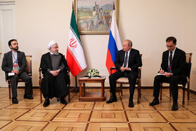Iranian President Hassan Rouhani and Russian President Vladimir Putin are seen in their meeting on the sidelines of the Eurasian Economic Council's Summit, Yerevan, Armenia, October 1, 2019.